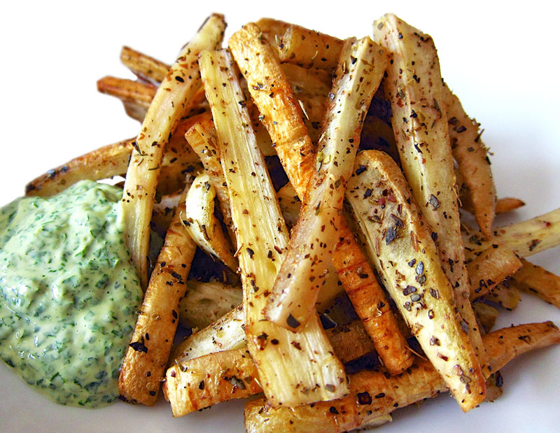 Parsnip Fries w. Cilantro Tahini Dipping Sauce Recipe | Christopher ...