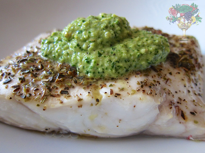 Oven Baked Whitefish With Basil Cilantro Pesto Recipe