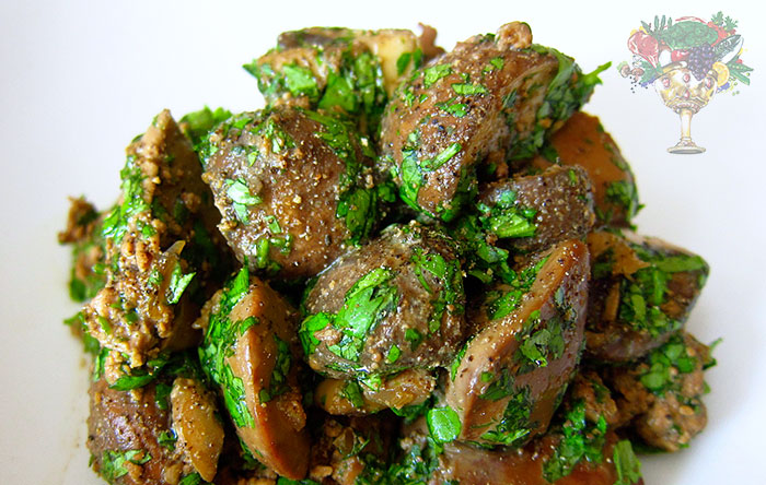 Grilled Liver and Mushrooms