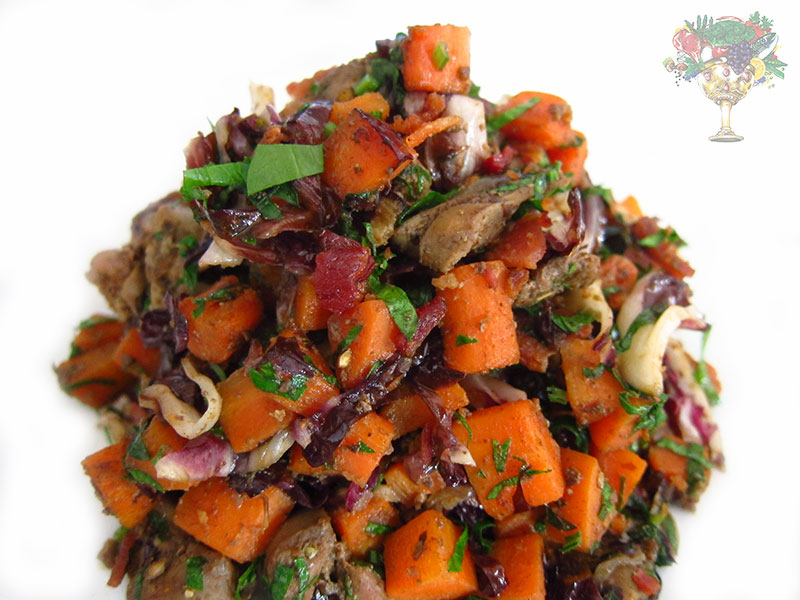 Liver w. Carrots, Radicchio and Bacon