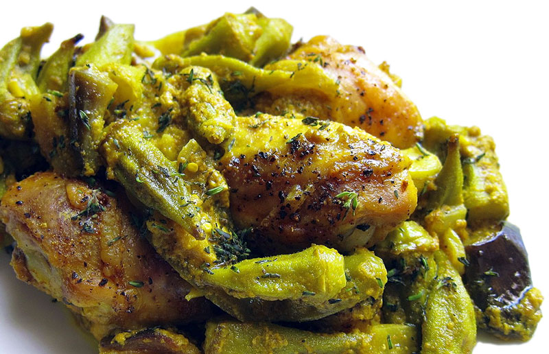Coconut Chicken Curry W Okra And Eggplant Recipe
