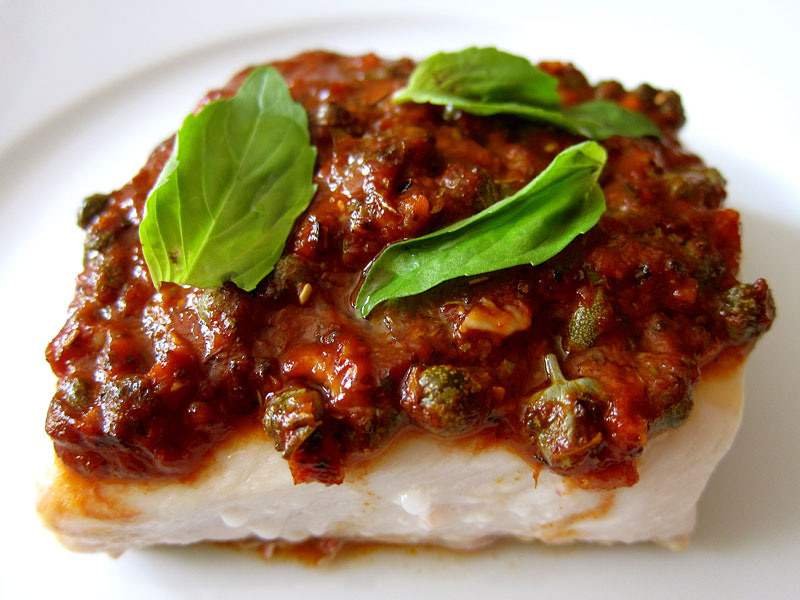 Whitefish w. Tomato, Basil, and Capers