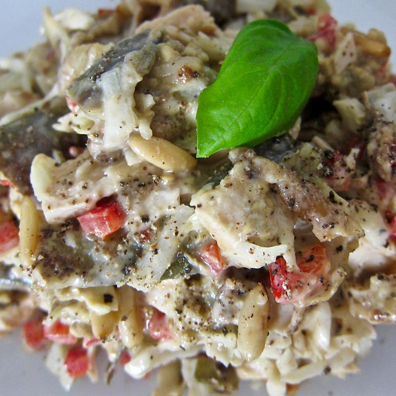 is an amazing chicken salad with roasted eggplant, sweet red chili ...