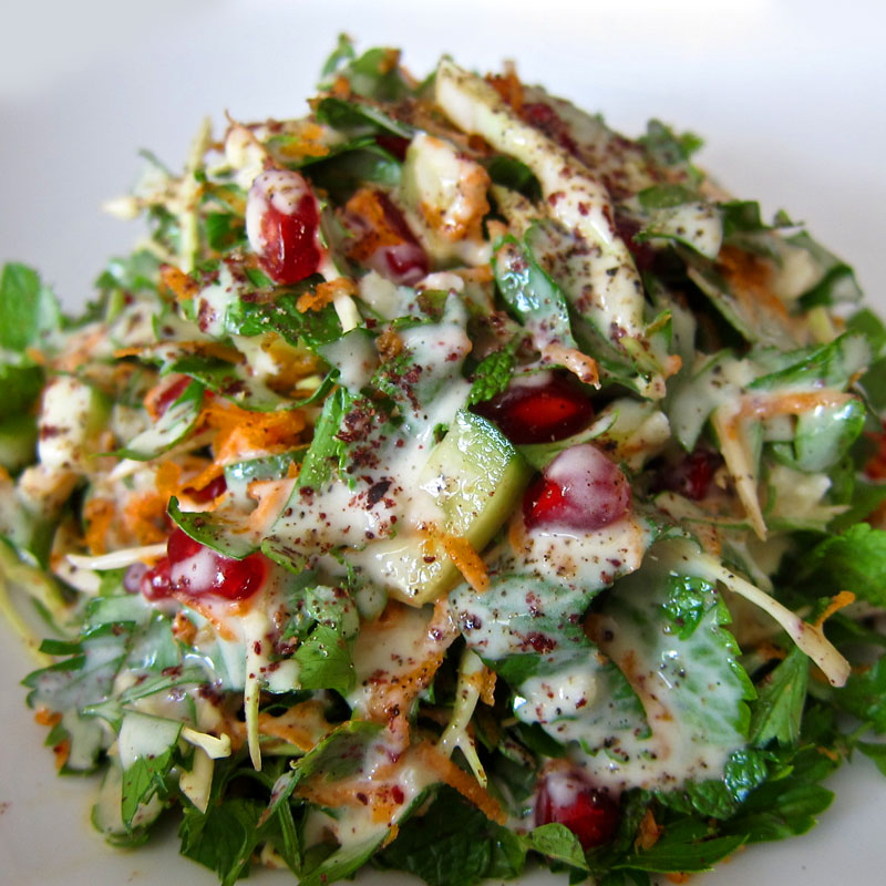 Pomegranate Herb Salad w. Sumac and Tahini Dressing