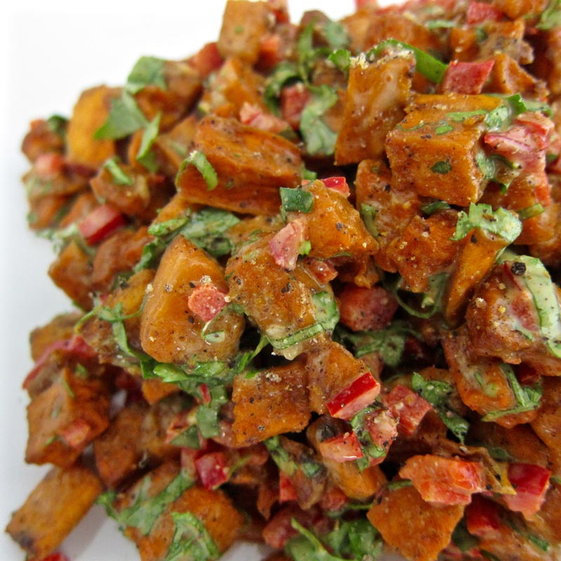 sweet potato salad w tahini sauce 3 sweet potatoes peeled and cut into ...