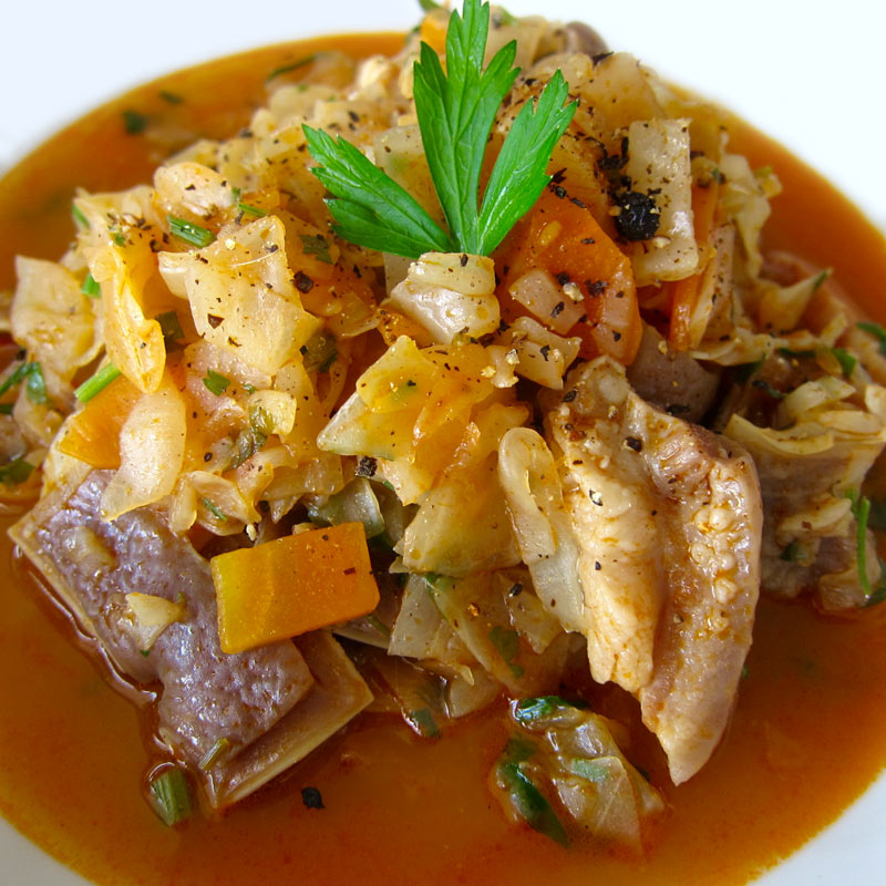 Romanian-Style Pig Ears & Cabbage