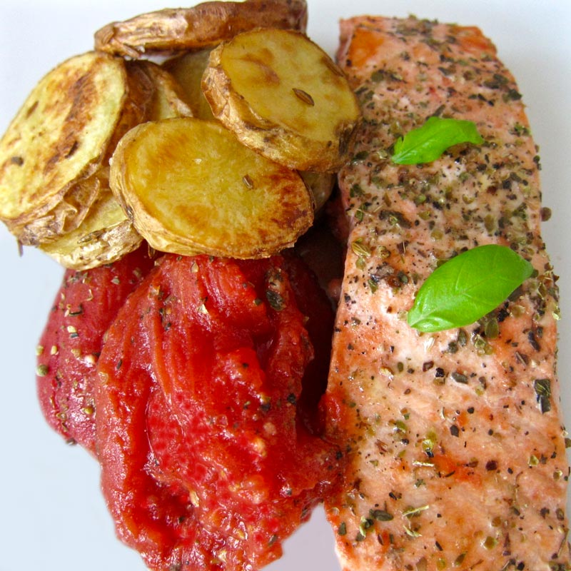 Easy Oven Salmon w. Roma Tomatoes and Potatoes