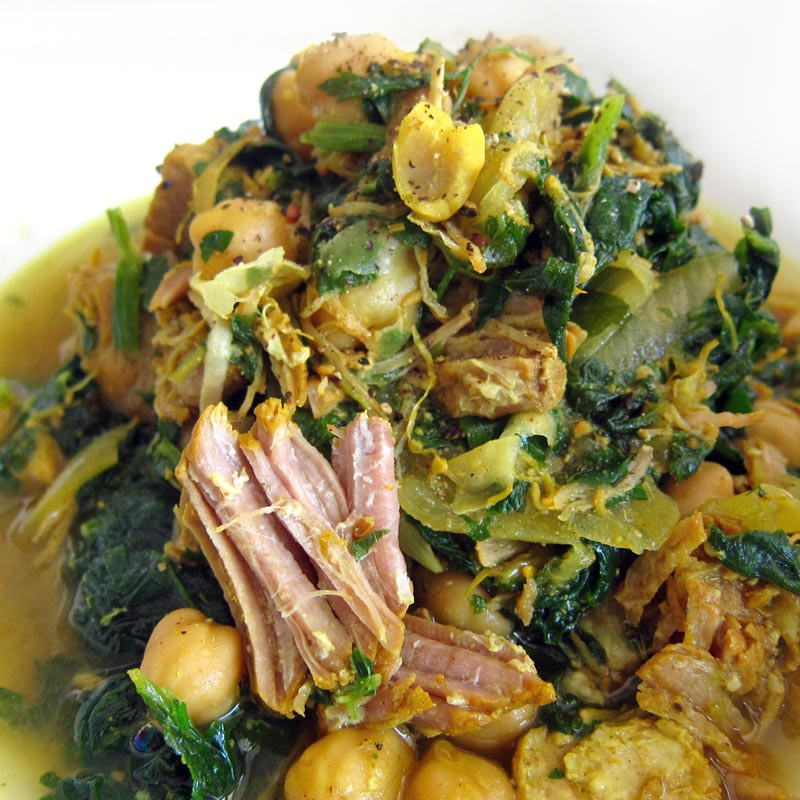 Slow-Cooked Pork w. Spinach & Chickpeas