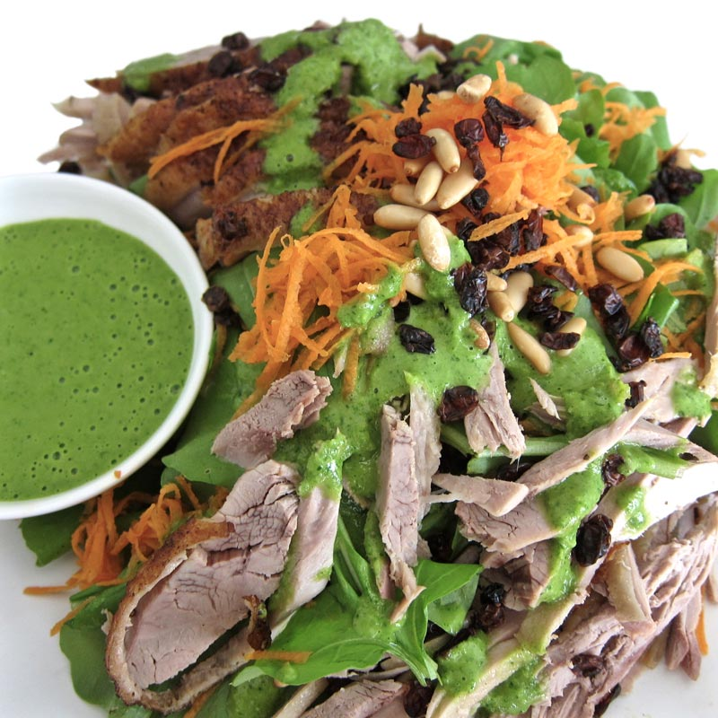 Duck Salad w. Clementine Parsley Sauce and Pine Nuts