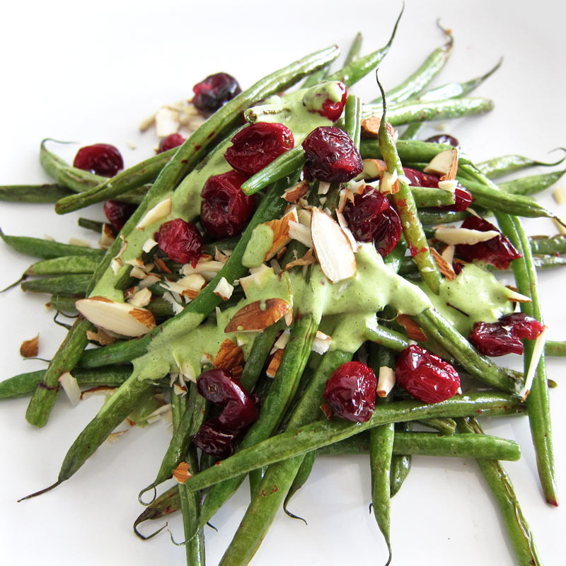 Decadent Green Beans w. Cranberries, Almonds, and Tahini Mint Sauce