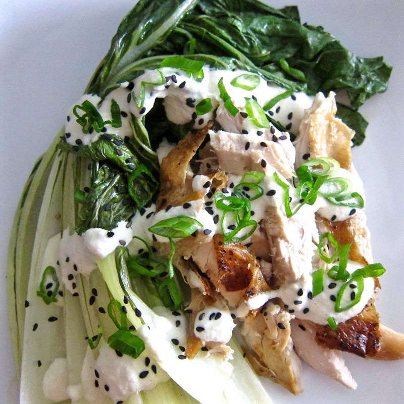 Balsamic Roasted Baby Bok Choy w. Chicken and Tahini Horseradish Sauce