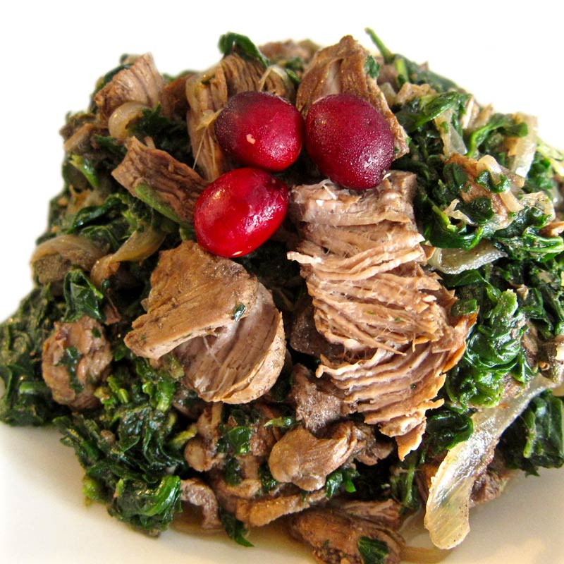 Slow-Cooked Lamb Shoulder w. Cranberries and Spinach