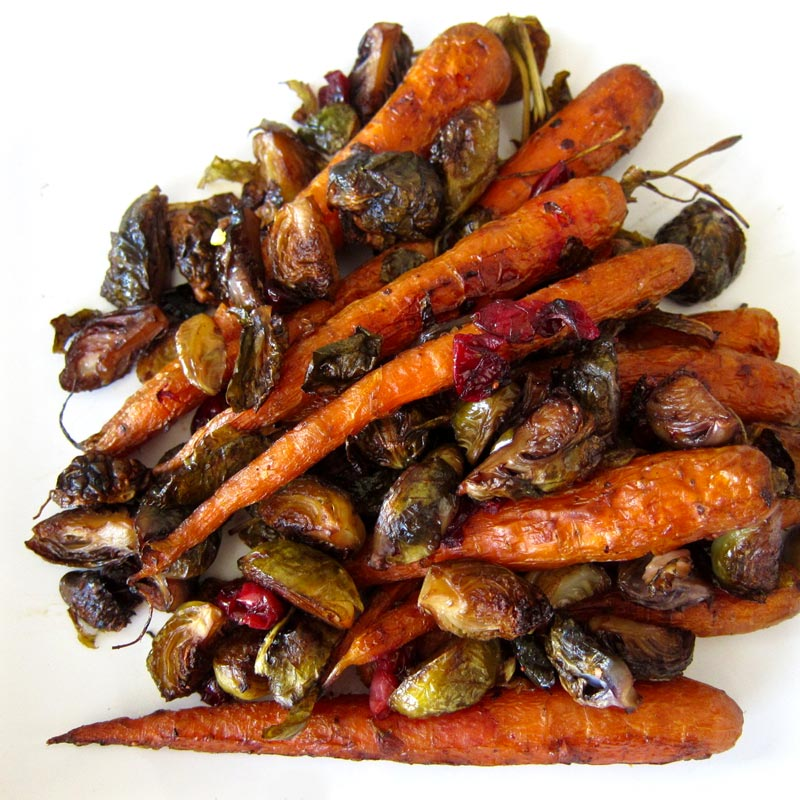 Roasted Baby Carrots and Brussels Sprouts