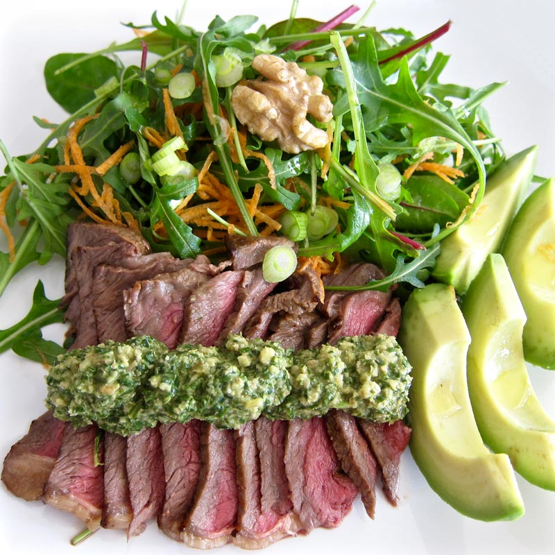 Steak Salad w. Walnut Herbed Pesto