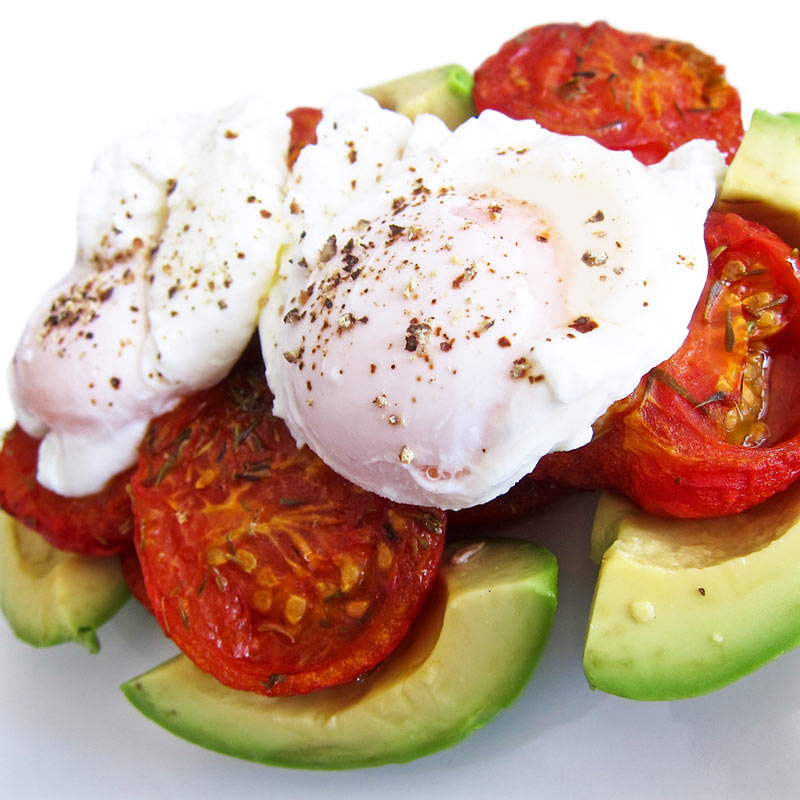 Balsamic Roasted Tomatoes w. Avocado and Poached Eggs