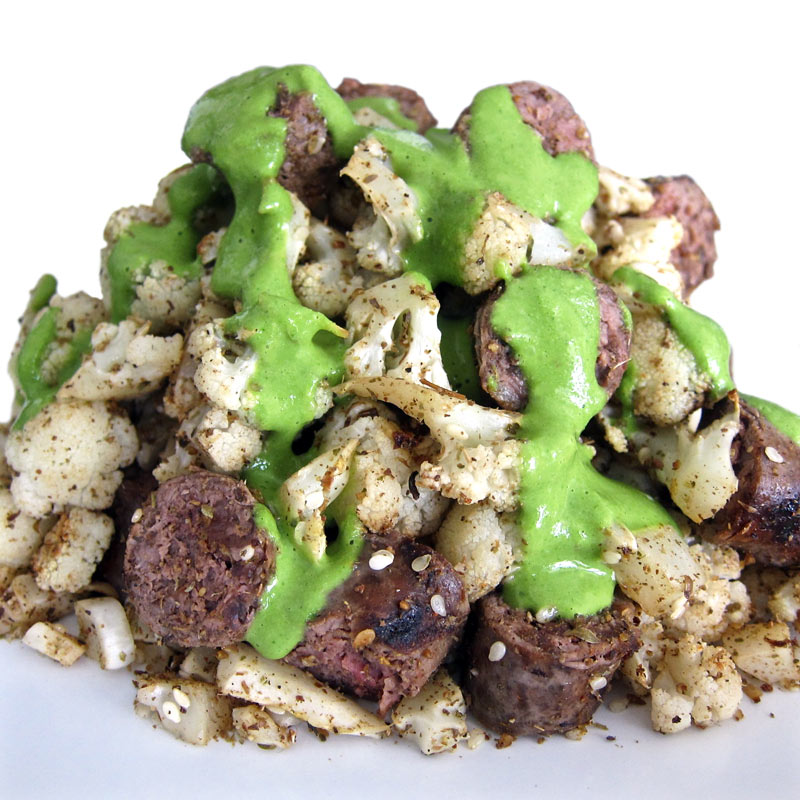 Roasted Cauliflower w. Sausage and Cashew Mint Sauce Recipe