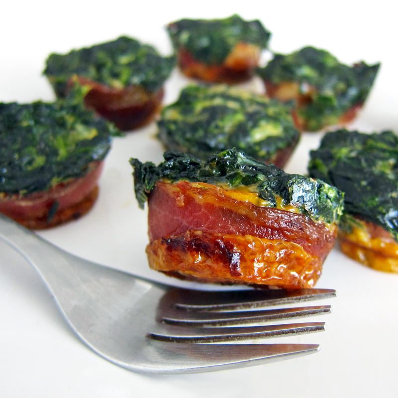 Spinach Egg Bacon Cups Recipe